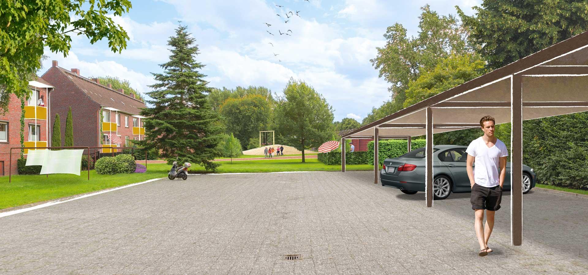 Mieter-Parkplätze und Gartenanlage